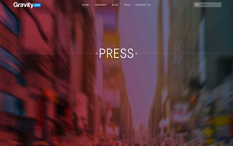 Screenshot of Press Page gravity.com - Gravity  | PressGravity - captured Oct. 15, 2015