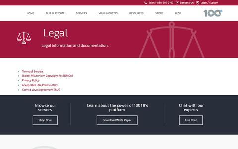 Screenshot of Terms Page 100tb.com - Legal information and documentation - 100TB.com - captured June 11, 2017