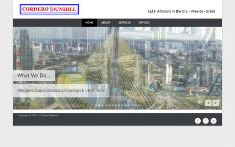 Screenshot of Home Page Menu Page corderodunhill.com - | Legal Advisors in the U.S. – Mexico – Brazil - captured Sept. 30, 2014