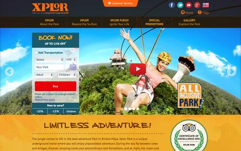 Screenshot of Home Page xplor.travel - Xplor Park Cancun | Activities in Cancún and Riviera Maya - captured Jan. 12, 2016