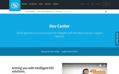 Screenshot of Developers Page spscommerce.com - Dev Center | SPS Commerce - captured April 21, 2018