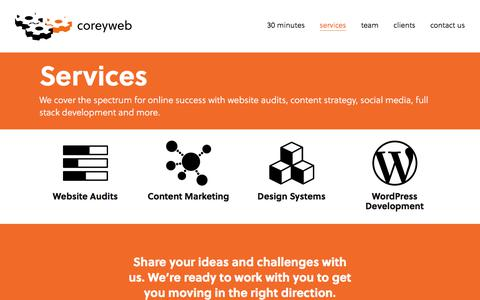 Screenshot of Services Page coreyweb.com - Services – coreyweb - captured Feb. 25, 2018