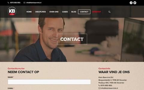 Screenshot of Contact Page kleinbeernink.nl - contact - captured Aug. 9, 2016