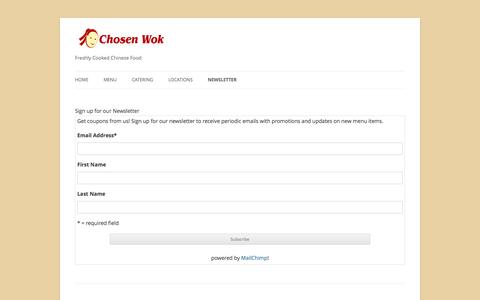 Screenshot of Signup Page chosenwok.com - Newsletter | Chosen Wok - captured Sept. 29, 2014