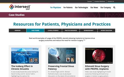 Screenshot of Case Studies Page intersectent.com - PROPEL and PROPEL mini Case Studies | Intersect ENT - captured May 9, 2017