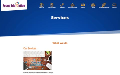 Screenshot of Services Page focuseduvation.com - Services | Focus EduVation - captured Aug. 18, 2018