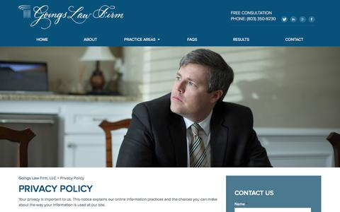 Screenshot of Privacy Page goingslawfirm.com - Privacy Policy | Goings Law Firm, LLC - captured Sept. 30, 2014