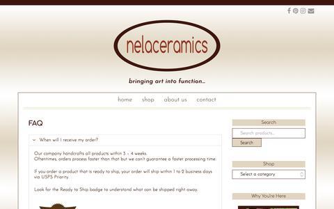 Screenshot of FAQ Page nelaceramics.com - FAQ - NelaCeramics - captured Oct. 26, 2017
