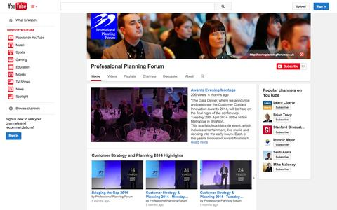 Screenshot of YouTube Page youtube.com - Professional Planning Forum  - YouTube - captured Oct. 23, 2014