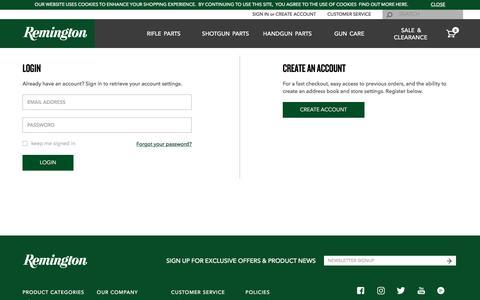 Screenshot of Login Page remington.com - Login   Shop Remington - captured Sept. 7, 2016