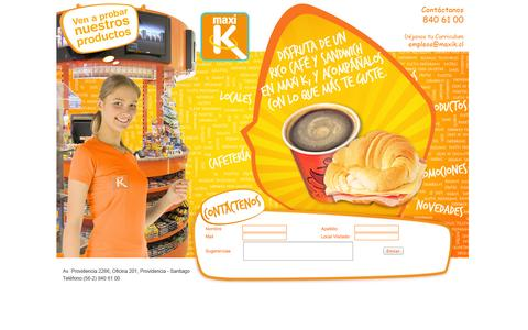 Screenshot of Home Page maxik.cl - MAXI K - captured Oct. 6, 2014