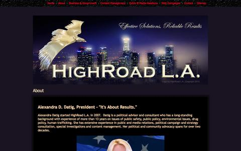 Screenshot of About Page highroadla.com - About - captured Sept. 30, 2014