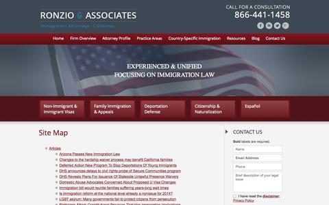Screenshot of Site Map Page ronziolaw.com - Site Map   Ronzio & Associates   - captured Oct. 2, 2014