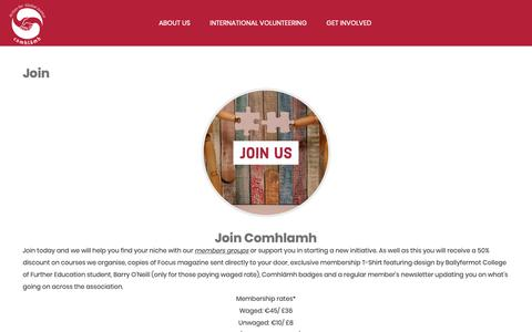 Screenshot of Signup Page comhlamh.org - Join – Comhlamh - captured Sept. 29, 2018