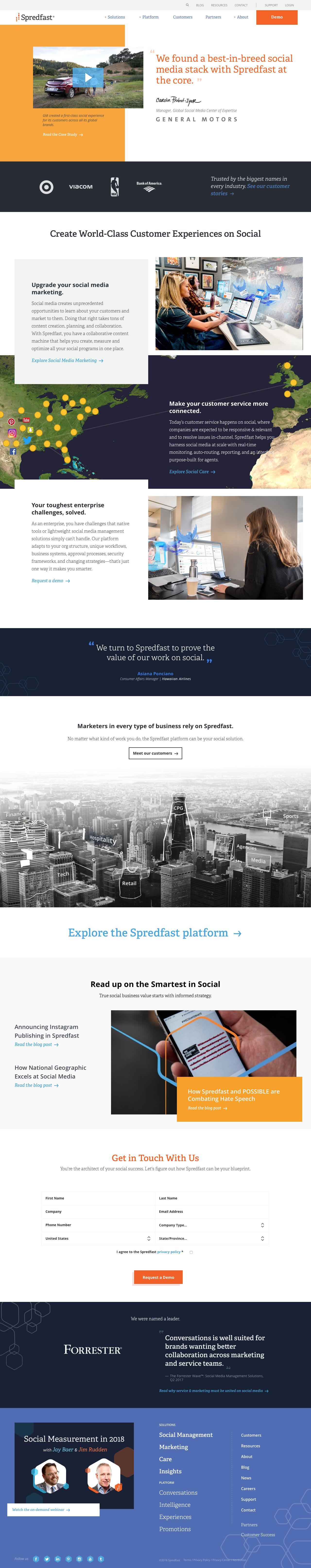 Screenshot of spredfast.com - Social Media Marketing & Management Software | Spredfast - captured Feb. 26, 2018