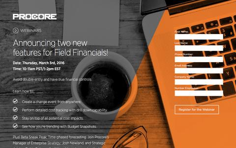 Screenshot of Landing Page procore.com - Announcing two new features for Field Financials! - captured Feb. 24, 2016