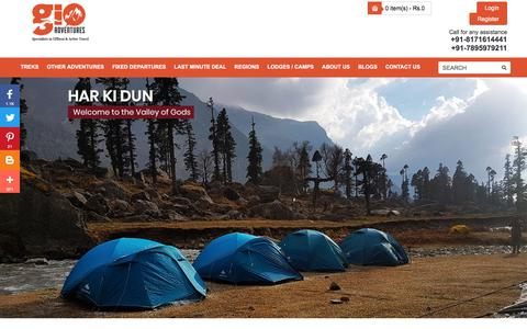 Screenshot of Home Page gio.in - Adventure Trekking Trips In India   Best Outdoor Camps   GIO - captured Sept. 23, 2018
