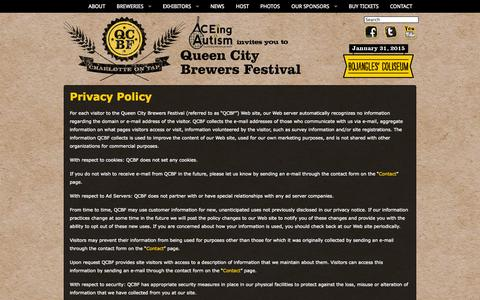 Screenshot of Privacy Page qcbrewfest.com - Queen City Brewers Festival | Privacy Policy - captured Oct. 3, 2014