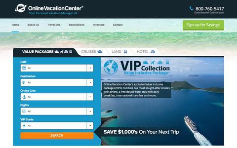 Screenshot of Home Page onlinevacationcenter.com - Online Vacation Center - captured Jan. 10, 2016