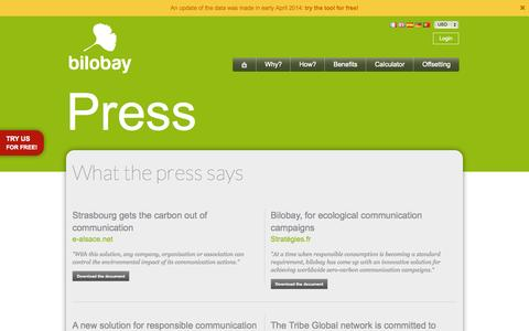 Screenshot of Press Page bilobay.com - What the press says | bilobay - captured Sept. 30, 2014