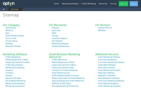 Screenshot of Site Map Page optyn.com - E-Mail Marketing Sitemap for Optyn - captured July 20, 2014
