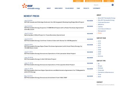 Screenshot of Press Page edf-re.com - Press - EDF Renewable Energy » The Trusted Leader in Renewable Energy Development - captured July 19, 2014