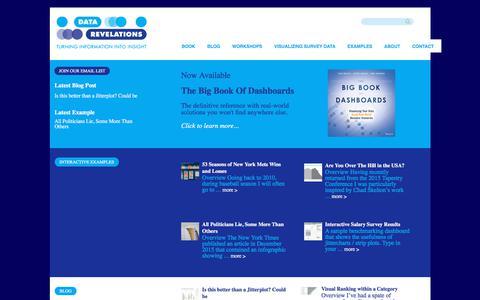 Screenshot of Home Page datarevelations.com - Data Revelations – Interactive visualization development, consulting, and training - captured Aug. 5, 2018