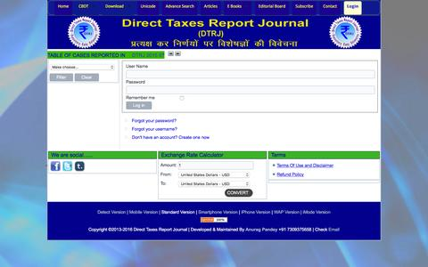 Screenshot of Login Page directtaxesreport.in - Login - Direct Taxes Report Journal - captured Feb. 9, 2016