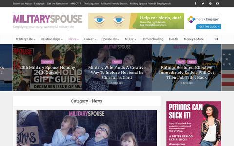 Screenshot of Press Page militaryspouse.com - News | Military Spouse - captured Dec. 27, 2016