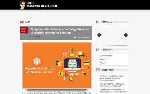 Screenshot of Blog hiremagentodeveloper.com - Magento eCommerce Blog: eCommerce web Development Company - captured April 24, 2019