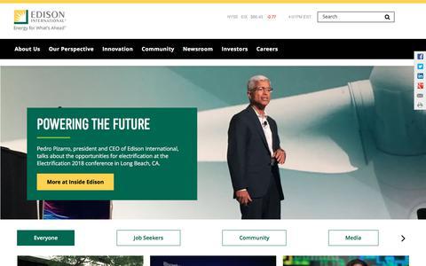 Screenshot of Home Page edison.com - Home   Edison International - captured Aug. 31, 2018