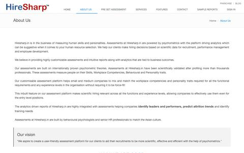 Screenshot of About Page hiresharp.in - Attrition Analysis Management in India | Assessment Centre - captured Sept. 29, 2018