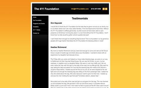 Screenshot of Testimonials Page 411foundation.com - Testimonials - The 411 Foundation - captured Feb. 25, 2016