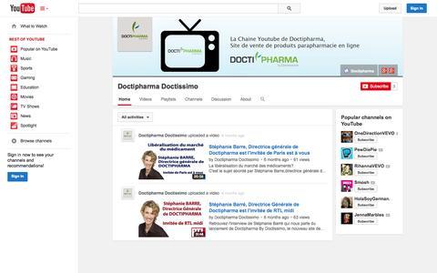 Screenshot of YouTube Page youtube.com - Doctipharma Doctissimo  - YouTube - captured Oct. 23, 2014