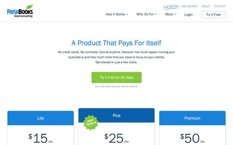 Screenshot of Pricing Page freshbooks.com - Pricing | FreshBooks - captured Feb. 1, 2017