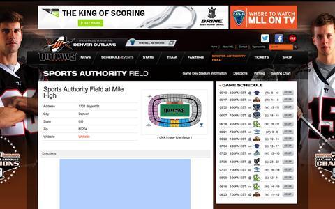 Screenshot of Maps & Directions Page denveroutlaws.com - Denver Outlaws Lacrosse - captured Sept. 19, 2014