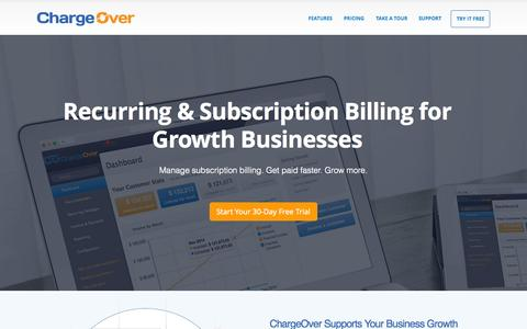 Screenshot of Home Page chargeover.com - Subscription Billing and Recurring Billing | ChargeOver - captured July 16, 2015