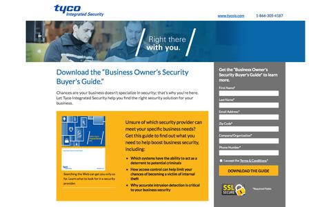 Screenshot of Landing Page tycois.com - Download the Business Owner's Security Buyer's Guide | TycoIS - captured Oct. 27, 2014