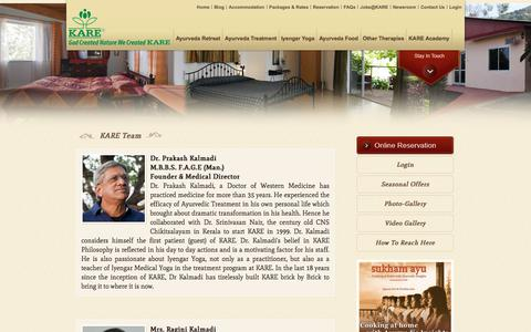 Screenshot of Team Page karehealth.com - Kare Ayurvedic & Yoga Retreat in India - Team - captured Oct. 16, 2017
