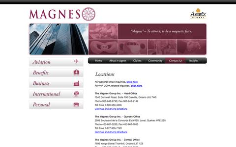 Screenshot of Locations Page magnesgroup.com - Locations - The Magnes Group Inc. - captured Oct. 6, 2014