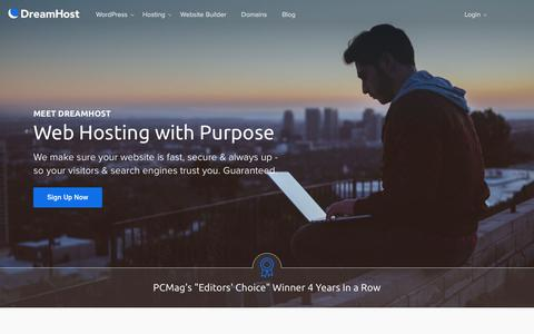 Screenshot of Home Page dreamhost.com - DreamHost | Web Hosting For Your Purpose - captured July 5, 2018