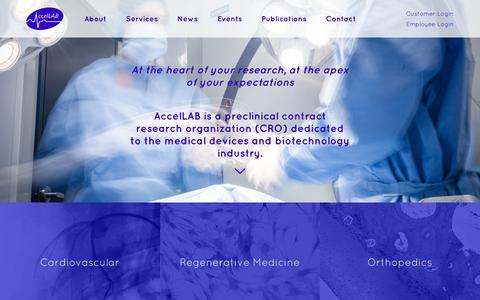 Screenshot of Home Page accellab.com - Preclinical CRO (Contract Research Organization) | AccelLAB - captured Feb. 5, 2016