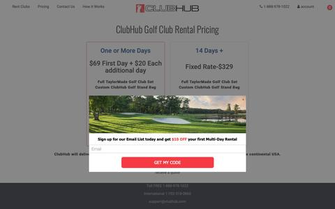 Screenshot of Pricing Page clubhub.com - Golf Club Rental Pricing | ClubHub - captured Sept. 28, 2018