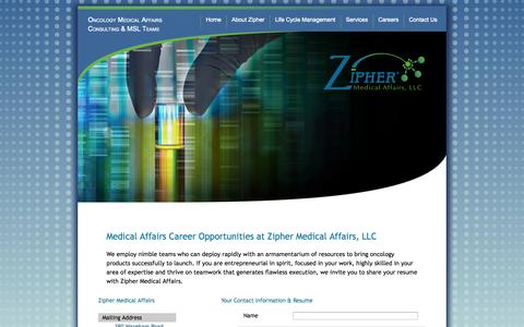 Screenshot of Jobs Page ziphermed.com - Careers | Zipher Medical Affairs - captured Oct. 7, 2014