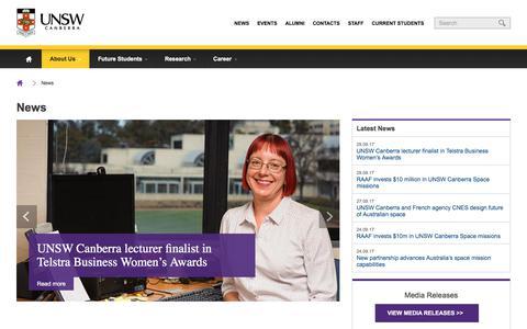 Screenshot of Press Page adfa.edu.au - News | UNSW Canberra - captured Oct. 4, 2017