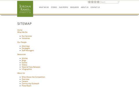 Screenshot of Site Map Page jordanramis.com - SiteMap - Home - Jordan Ramis PC - captured Oct. 16, 2017
