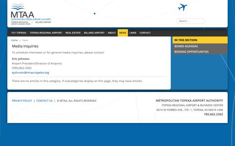 Screenshot of Press Page flytopeka.org - News | Metropolitan Topeka Airport Authority - captured Oct. 19, 2018