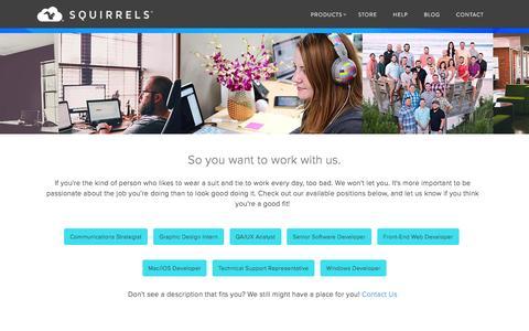 Screenshot of Jobs Page airsquirrels.com - Jobs available at Squirrels - captured Dec. 2, 2015