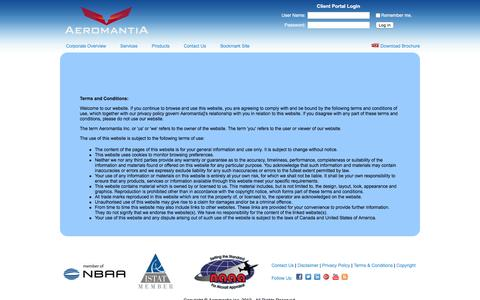 Screenshot of Terms Page aeromantia.com - Aeromantia Terms and Conditions - captured Feb. 5, 2016
