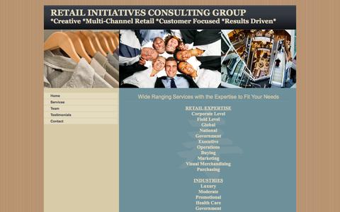 Screenshot of Services Page retailinitiatives.org - Retail Initiatives Consulting, B2B, Specializing Multi-channel, Stores, Websites, Healthcare, Government, Business to Business, Services - captured Oct. 9, 2014